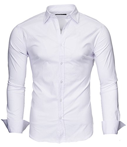 Kayhan uni camicia slim fit, white (m)
