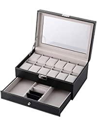 12 Watch Box Double-Layer Display Storage Watch Case Jewelry Collection Organiser Holder