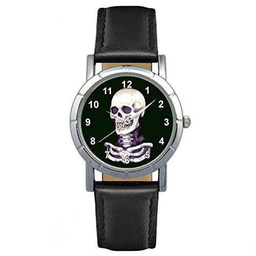 Timest - Skull Totenkopf - Motiv Damenuhr mit Lederarmband in schwarz Rund Analog Quarz SA1379