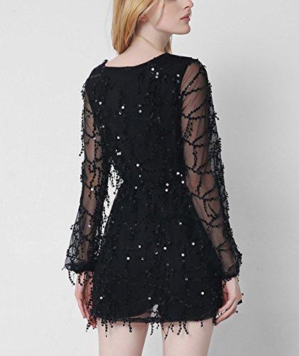 Damen Sexy Tief V Ausschnitt Langarm Paillette Mini Kleid mit Quaste - Schwarz Schwarz