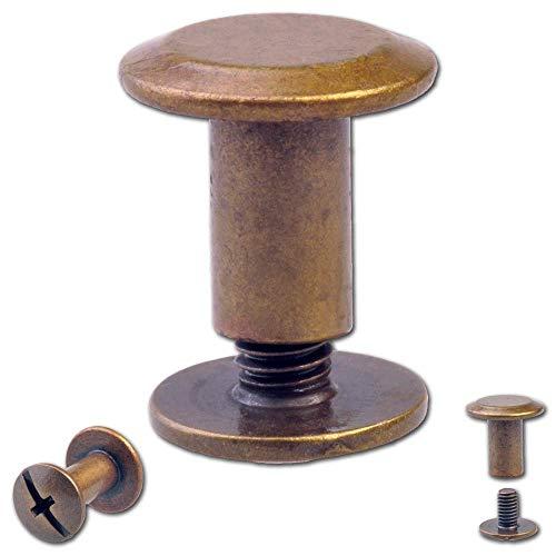 Hoppe & Masztalerz 25 Schraubnieten Gürtelschrauben Buchschrauben Chicagoschrauben Nieten Zum Schrauben 7MM Messing-antik