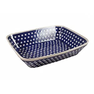 Polish Pottery Boleslawiec Oven Dish, Deep, Lasagne, Medium, 29cm in TADPOLE pattern