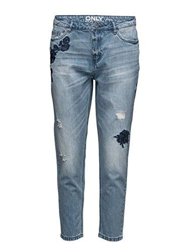 ONLY Damen Jeanshose Onltonni Bf Dnm Emb Jeans Bj blau
