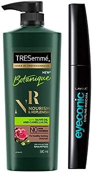 TRESemme Botanique Nourish and Replenish Shampoo, 580ml & Lakme Eyeconic Lash Curling Mascara, Black, 9ml