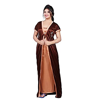 Bailey Women's Satin Combo Of Night Dress (Bailey0151_Brown_Free Size)