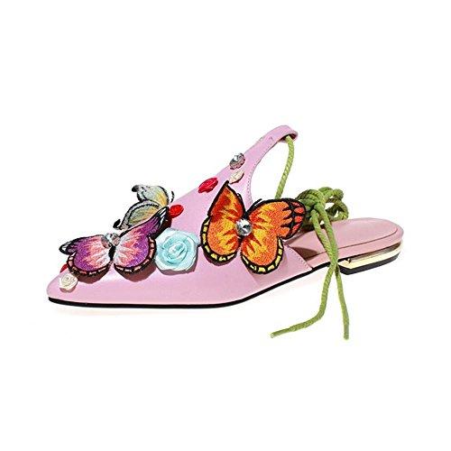 Heart&M Frauen-spitze Zehe Geschlossene Zehe Low Heel Low-cut Hohl Bandage Strass Slippers Sandalen Roma Schuhe Pink