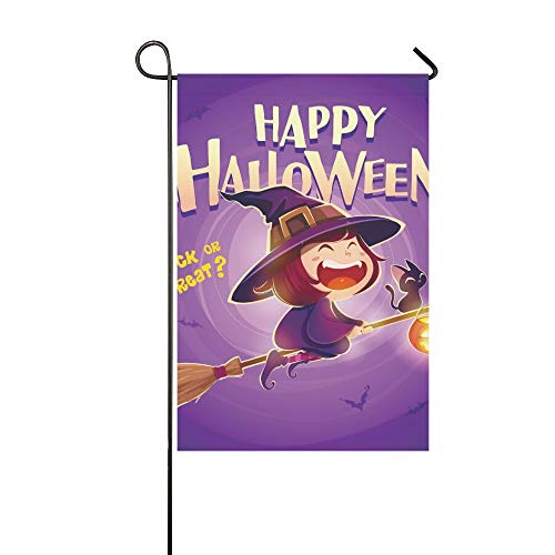 Home Dekorative Outdoor Doppelseitige Happy Halloween Halloween Fliegende Kleine Hexe Garten Flagge, haus Hof Flagge, garten Hof Dekorationen, saisonale Willkommen Outdoor Flagge 12 X 18 Zoll - Kleine Hexe Teen Kostüm