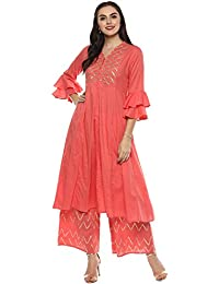 Bhama Couture Women's cotton A Line Salwar Suit Set (Pack of 2