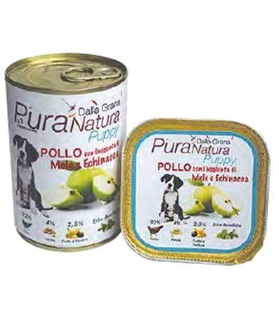 PURA NATURA Manzanas de pollo libre del grano húmedo del perro de...
