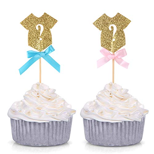 Yinuoday 30 stücke Glitter Geschlecht Offenbaren Cupcake Topper Baby Overalls Kuchen Topper für Baby Shower Party Dekoration Lieferungen (30 Stück Cake Topper)