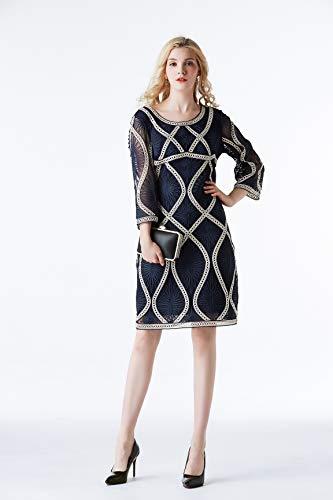 Muster Kostüm Edwardian - WNLZL Damen Plus Size Sieben-Punkt-Ärmel-Kleid, Spitze Bestickt Temperament Abendkleid Kurzes Kleid Für Cocktail Club Prom Party Formelle Anlässe Lässig,Blue,XL