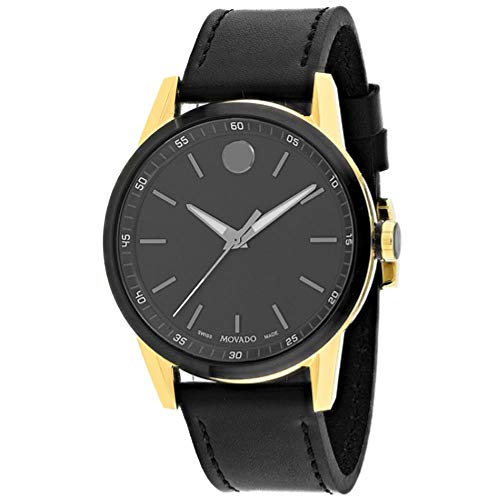 Movado Men's Museum 41mm Black Leather Band Steel Case Sapphire Crystal Quartz Analog Watch 607223