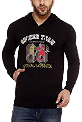 Gritstones Black Printed Sweatshirt-GSSSBLKSOCCER-XL