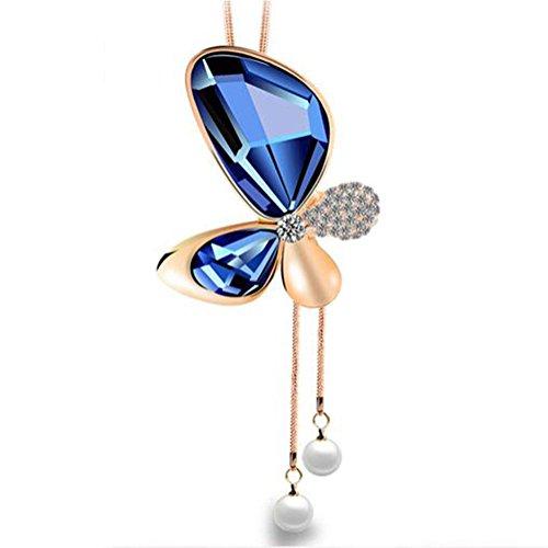catena di farfalla del maglione, collana lunga nappa, autunno e inverno, la moda, accessori di abbigliamento ciondolo , blue
