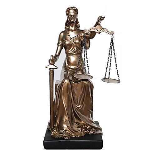 He-art Göttin der Gerechtigkeit Figurine Themis Statue Gericht Tischdekoration Rechtsanwalt Schreibtisch Ornament Bronze Textur Skulptur Kunstwerk -