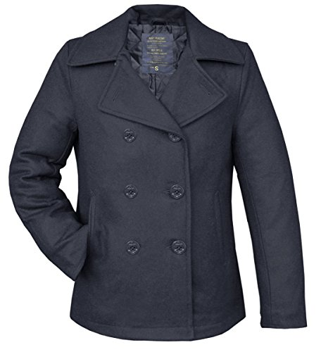 Navy Pea Coat Wintermantel Jacke, Gr. S, blau Pea Coat Trenchcoat