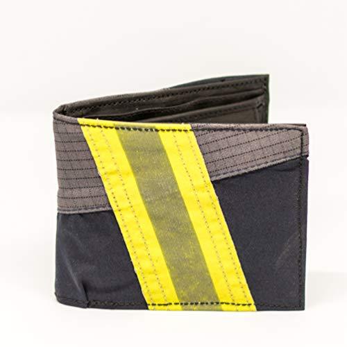 Roter Hahn 112 Feuerwehr Geldbörse/Navy-M/Portemonnaie Geldtasche Portjuchhe Brieftasche Geldbeutel / 125 x 95 x 20 mm/Original gebrauchter Feuerwehrkleidung Le Hahn