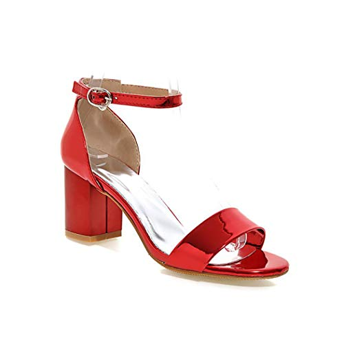 Red Patent Peep Toe Pumps (Mzq-yq Damen einfache High Heels Patent Leder Schnalle Sandalen Knöchel Knöchel Strap Damenschuhe,Red,37)