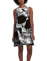 7ce6d9445308 Vestiti Donna Eleganti da Halloween Abito Moda Giovane da Giorno Estivi  Corti Senza Maniche Totenkopf Stampato