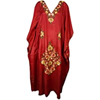 Womens Kaftan Maxi Dress Silk Red Embellished Evening Gown Caftan One Size