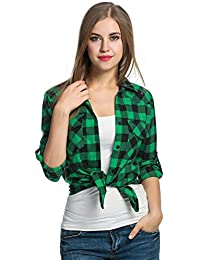 Damen Kariert Langarm Hemden Langarmshirt Casual Elegante Bekleidung Vintage  Classic Shirts Blusenshirt Bluse Herbst 207a9706f5