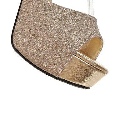 LvYuan Sandali-Tempo libero Formale Casual-Comoda Innovativo Club Shoes-Quadrato-Lustrini Materiali personalizzati-Nero Argento Dorato Gold