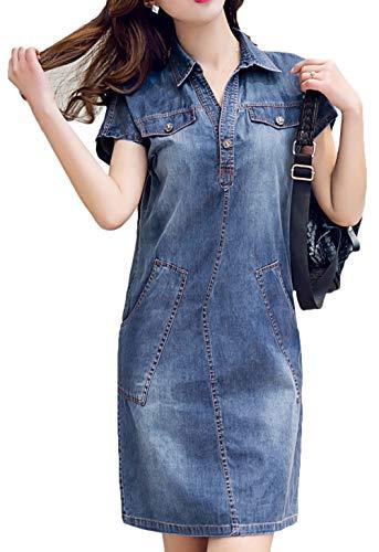 Bevalsa Damen Elegant Jeanskleid Sommer V-Ausschnitt Kurzarm Schlank Hemdblusenkleid Jeansbluse Freizeitkleid Partykleid Bluse Tunika Denim Cocktailkleid Minikleid, Blau, L