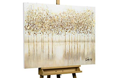 KunstLoft® Acryl Gemälde 'Stilles Wasser' 100x75cm | original handgemalte Leinwand Bilder XXL | Bäume Wald Grau Gold | Wandbild Acrylbild Moderne Kunst einteilig mit Rahmen (Rahmen-kunst)