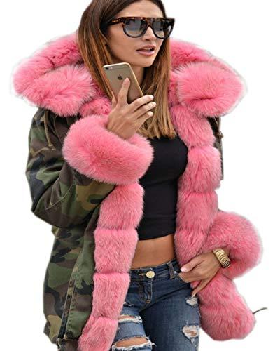 Roiii® Lady Winter Damen verdicken warme Mantel Kapuze Parka Lange Jacke Outwear Größe 36-50 (38/40, Rosa) -