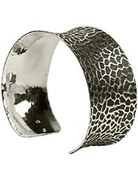 SILBERMOOS Damen Armreif Armspange geschwärzt konkav massiv Rochenleder-Muster 925 Sterling Silber