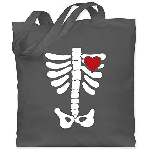 Shirtracer Halloween - Skelett Herz Halloween Kostüm - Unisize - Dunkelgrau - WM101 - Stoffbeutel aus Baumwolle Jutebeutel lange - Aktuelle Event Kostüme Ideen