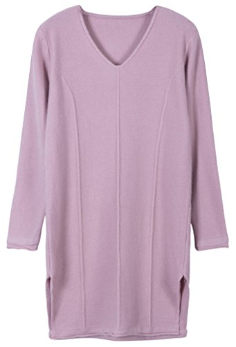 Vogueearth Femme's Longue Manche Knit V-Neck Loose Top Pullover Sweater Chandail Tricots Rose