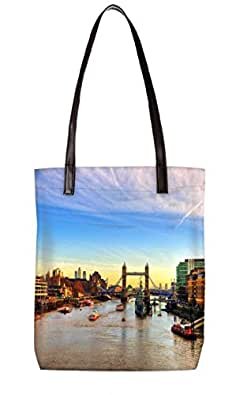 Snoogg Abstract Lake In City Womens Digitally Printed Utility Tote Bag Handbag Made Of Poly Canvas With Leather Handle