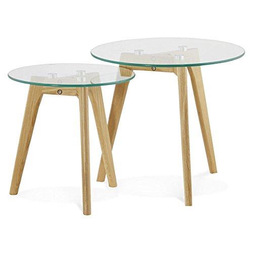 MK Tables Basses Design gigognes Art en Verre et chêne Massif (Transparent)