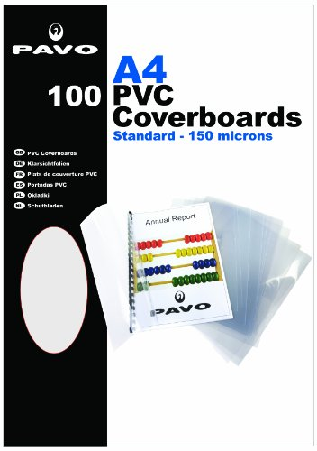 Pavo Einbanddeckel-Klarsichtfolie A4, PVC-Folie, 0.15 mm, 100-er Pack, transparent