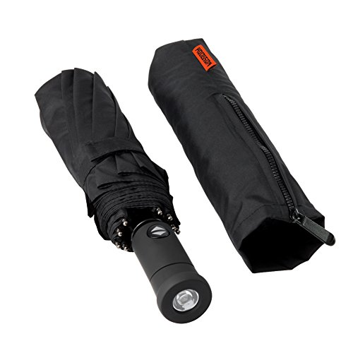 HODGSON Regenschirm Automatischer Taschenschirm mit 94cm Durchmesseer & LED Licht, wasserabweisende Teflon, aus 210T Gewebe Unisex für Damen und Herren-LED