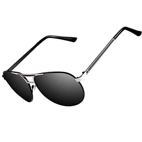 Kennifer Aviator Flieger Polarisierte Sonnenbrille Männer Herren Metallrahmen Mode Spiegel Objektiv Unisex Eyewear Fahren Angeln Radfahren Shopping Golf Sport Brillen, UV400 (C1)