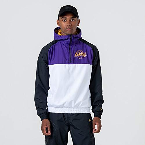 New Era NBA Hooded Windbreaker Herren LA Lakers Weiß Lila, Größe:L