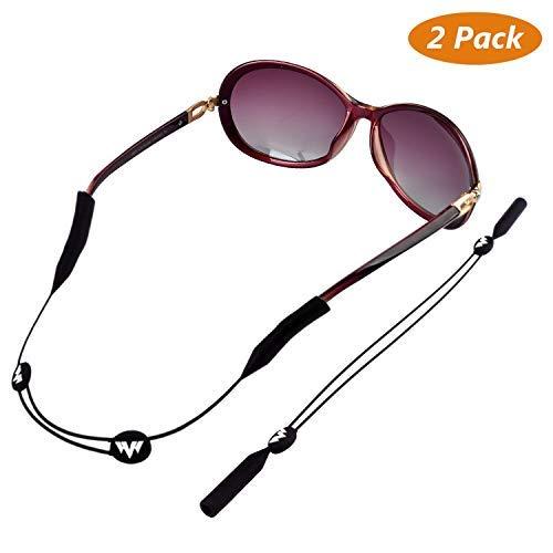 Buluri Sonnenbrillen Haltebänder, Sport Brillenband Elastischer Verstellbarer 2er Pack Schwarz Unise