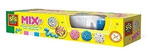 SES Creative Plastilina- Mézclala - Kits de Manualidades para niños (Glitter Modelling Clay Set, Arcilla de modelar, Niño/niña, 3 año(s), Niños, Azul, Rojo, Blanco)