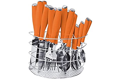 24pc Cutlery Set Stainless Steel With Coloured Plastic Handles Plus a Free Stainless Steel Holding Rack (Orange)