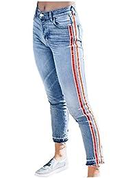 SANFASHION Jeans Taille Haute à Rayures Femme Pantalon Basic Latérales  Stretch Slim ... dbc9e4ee7e33
