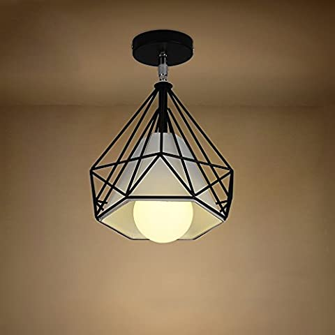 Neixy -Industrial Vintage Metal Iron Cage Pendant Lighting Semi Flush Mount Ceiling Light Lamp Fixture ORB Hanging Chandelier E27