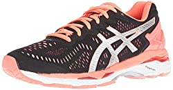ASICS Womens Gel-Kayano 23 Track Shoe, Black/Silver/Flash Coral, 8.5 M US
