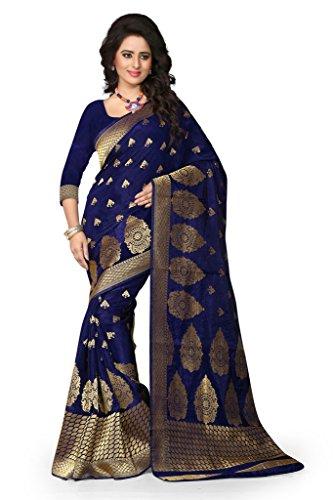 Shree Sanskruti Women's Tussar Silk Saree With Blouse Piece (Sharma Nevy Blue...