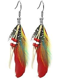 Indianer Ohrringe GRÜN 10 cm echte Federn handbemalt mit Perlen Ohrschmuck EDEL