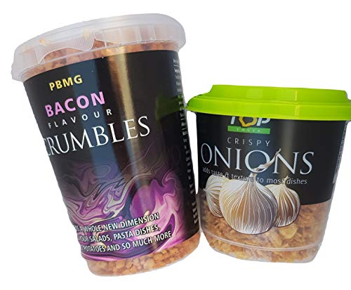 Bacon Bits Crumbles & Onion Crispy Crunch Toppings Great on Salads, Pasta Dishes, Jacket Potatoes or in Cooking.