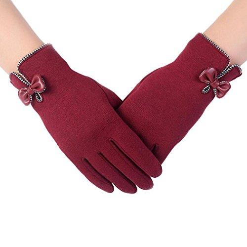 Koly Pantalla táctil de la manera deporte al aire libre guantes calientes del invierno de las mujeres (Negro) (Rojo)