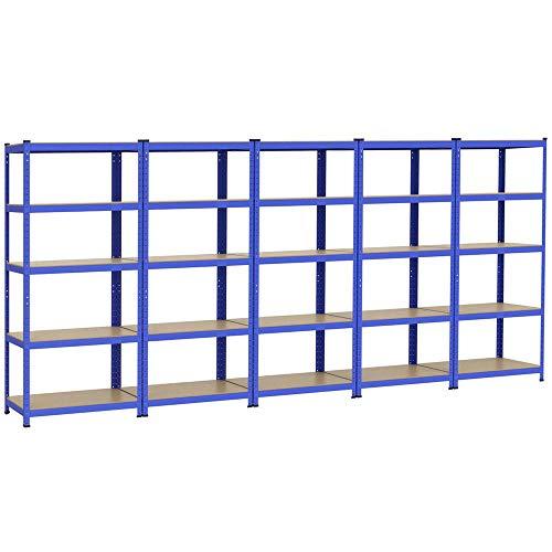 Yaheetech 5x Schwerlastregal 180 x 90 x 45 cm, Steckregal Kellerregal Metall Regal Regalsystem, Traglast bis 265 kg pro Fachboden
