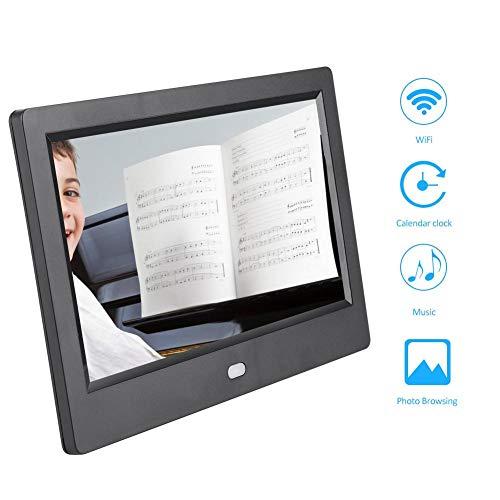 Simlug 7-Zoll-Digitalfotorahmen, elektronische Bilderrahmen mit IPS-Display, 720P HD-Video, Musikwiedergabe, Kalender, Alarm, Fernbedienung, 32G SD-Unterstützung(AC110-240V)